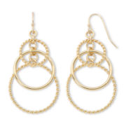 Sensitive Ears Rope Textured Hoop Gold-Tone Chandelier Earrings