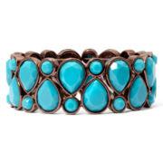 Liz Claiborne® Bronze-Tone Blue Stretch Bracelet