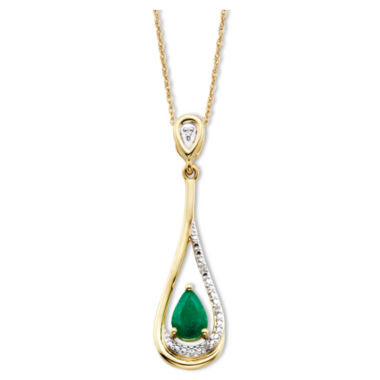 jcpenney.com | Emerald & Diamond-Accent 10K Gold Pendant Necklace