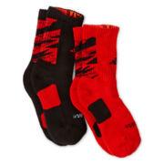 adidas® 2-pk. Team Speed Impact Scarlet Camo Crew Socks - Boys