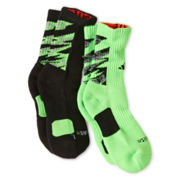 adidas® 2-pk. Team Speed Impact Green Camo Crew Socks - Boys