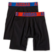 adidas® 2-pk. Sport Performance Long Boxer Briefs - Boys 8-20