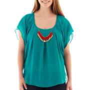 by&by Butterfly-Sleeve Gauze Necklace Top - Plus