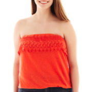 Arizona Ruffle-Trim Lace Crochet Tube Top – Plus