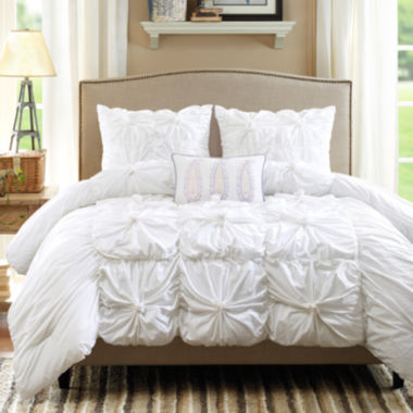 jcpenney.com | Madison Park Maxine 4-pc. Ruched Duvet Cover Set