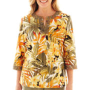 Alfred Dunner® Call of the Wild Tropical Lace-Neck Blouse