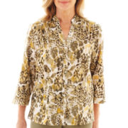 Alfred Dunner® Call of the Wild 3/4-Sleeve Animal Print Shirt