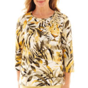 Alfred Dunner® Call of the Wild 3/4-Sleeve Tiger Tropical Top