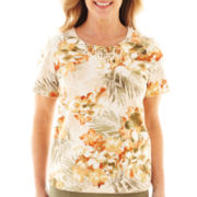 Alfred Dunner® Call of the Wild Short-Sleeve Tropical Flower Top