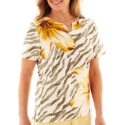 Alfred Dunner® Call of the Wild Short-Sleeve Floral Striped Top