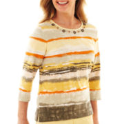 Alfred Dunner® Call of the Wild 3/4-Sleeve Watercolor-Striped Top