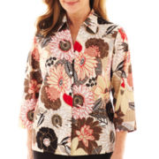 Alfred Dunner® Belize 3/4-Sleeve Floral Button-Front Shirt