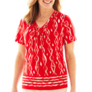 Alfred Dunner® Belize Short-Sleeve Ikat Border Print Top