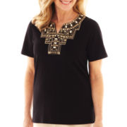 Alfred Dunner® Belize Short-Sleeve Beaded Yoke Top