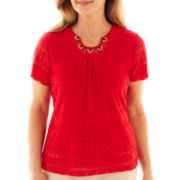 Alfred Dunner® Belize Short-Sleeve Lace Biadere Top