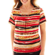 Alfred Dunner® Belize Short-Sleeve Brushstroke Striped Top