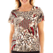 Alfred Dunner® Short-Sleeve Belize Floral Ruffle Top
