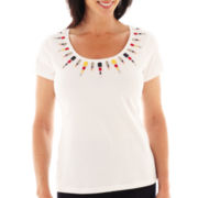 Lark Lane® Fine Print Short-Sleeve Top