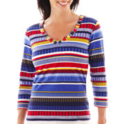 Lark Lane® Fine Print 3/4-Sleeve Striped Knit Top