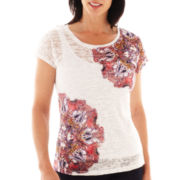 Lark Lane® Fine Print Short-Sleeve Burnout Top with Tank Top