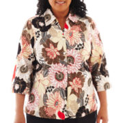 Alfred Dunner® Belize 3/4-Sleeve Floral Button-Front Shirt - Plus