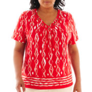 Alfred Dunner® Belize Short-Sleeve Ikat Border Print Top - Plus