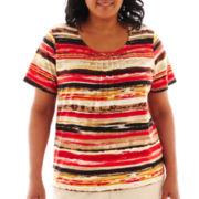 Alfred Dunner® Belize Short-Sleeve Brushstroke Striped Top - Plus