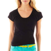 jcp Scoop Neck Short-Sleeve Tee