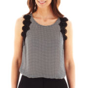 Worthington® Sleeveless Lace-Trim Top
