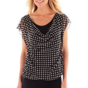 Worthington® Draped Mesh Top - Petite