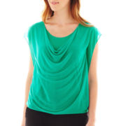 Worthington® Draped Mesh Top