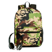 Camo Print Backpack with Headphones