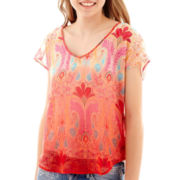 Trixxi® Short-Sleeve Woven T-Shirt