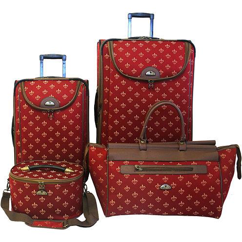 American Flyer Fleur-de-lis 4-pc. Expandable Upright Luggage Set
