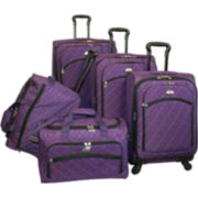 American Flyer Plaid 5-pc. Expandable Spinner Luggage Set