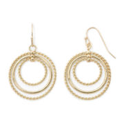 Sensitive Ears Rope Textured Gold-Tone Layered Hoop Earrings