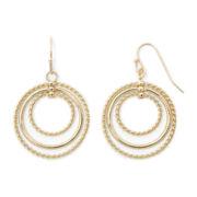 Sensitive Ears Rope Textured Gold-Tone Layered Hoop Earrings