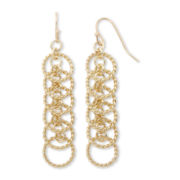 Sensitive Ears 6-Hoop Rope Textured Gold-Tone Chandelier Earrings