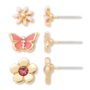 Sensitive Ears Pink Flowers and Butterfly 3-pr. Earring Set