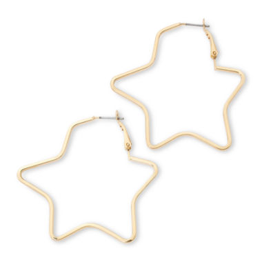 jcpenney.com | Sensitive Ears Gold-Tone Star Hoop Earrings