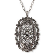 Liz Claiborne® Simulated Marcasite Oval Pendant  Necklace