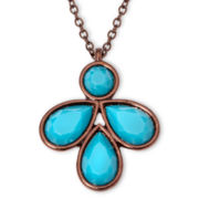 Liz Claiborne® Bronze-Tone Blue Pendant  Necklace
