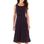 Jessica Howard Sleeveless Ruched Dot Print Dress