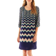 Luxology Short-Sleeve Chevron Print Shift Dress