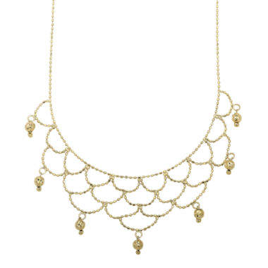 jcpenney.com | 14K Yellow Gold Beaded Bib Necklace