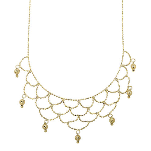 14K Yellow Gold Beaded Bib Necklace