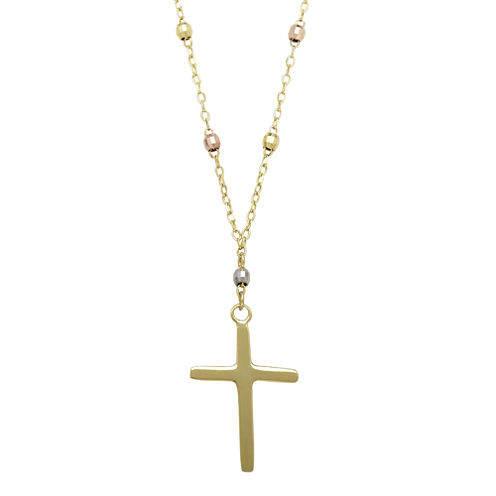 14K Tri-Tone Gold Beaded Chain Cross Necklace