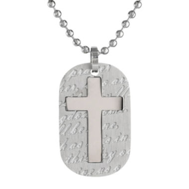 jcpenney.com | Mens Stainless Steel Cross Dog Tag Pendant Necklace