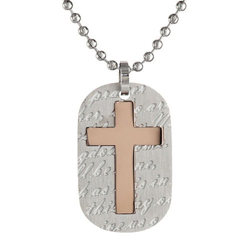 Mens Stainless Steel & Gold IP Cross Dog Tag Pendant Necklace