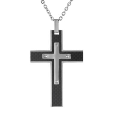 jcpenney.com | Mens Stainless Steel & Black Carbon Fiber Cross Pendant Necklace